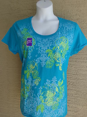 7bf880936b2 NEW WOMENS Just My Size Relaxed Fit Graphic Tee Shirt Orange Flowers ...