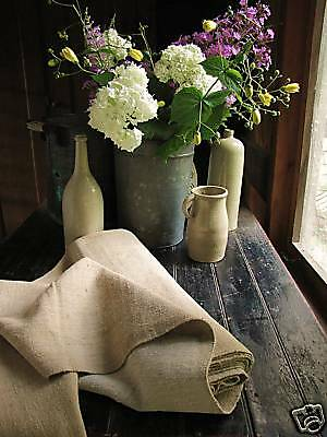 Antique organic HEMP feed sack fabric 8.1yd dark HEAVY
