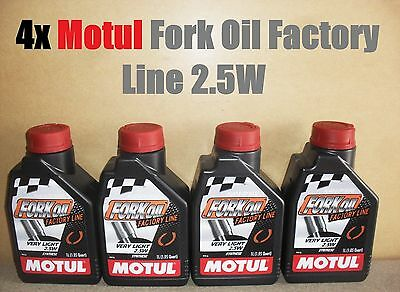 4x 1L MOTUL FACTORY LINE 2.5W VERY LIGHT FORK FULLY SYNTHETIC SUSPENSION OIL