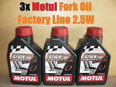 3x 1L MOTUL FACTORY LINE 2.5W VERY LIGHT FORK FULLY SYNTHETIC SUSPENSION OIL
