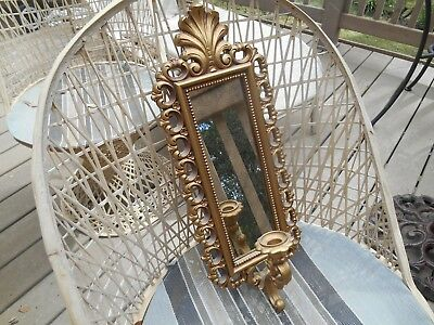 "Vintage  HOMCO DART 20"" HOLLYWOOD REGENCY GOLD WALL SCONCE MIRROR CANDLE HOLDER"
