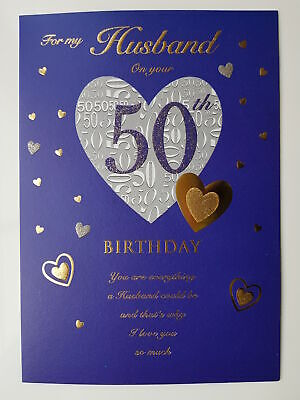 For My Husband On Your 50th Birthday Card 3 49 Picclick Uk