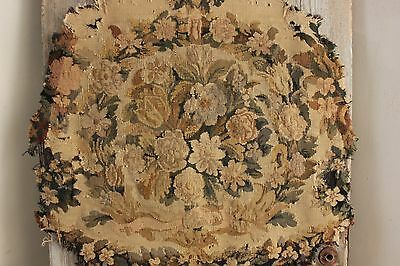Antique French Tapestry panel Aubusson hand woven chair back textile French