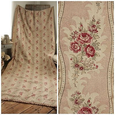 Antique curtain Biedermeier look Antique French drape faded floral linen fabric
