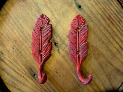 "2 RED FEATHER DESIGN WALL HOOKS 5.5"" RUSTIC VINTAGE CAST IRON metal coat key hat"