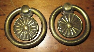 Vintage Lot Of 2 Brass Metal Drop Drawer Cabinet Furniture Knob Pull Handles