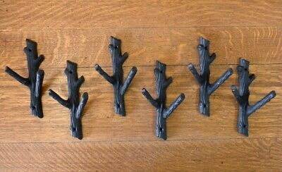 "6 Brown 7.75"" Tall Tree Trunk Branch Twig Double Wall Hooks Rustic Cast Iron"