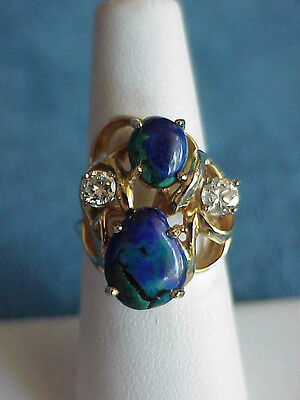 Superb Large Vintage Mid Century Modern 14Kt Gold Diamond AZURITE Size 6.25 Ring