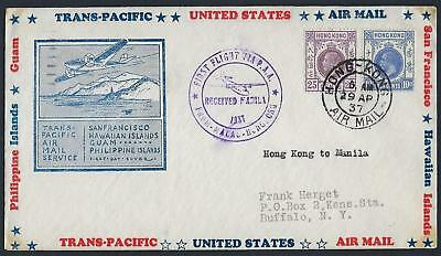 Hong Kong Us 1937 First Flight Clipper Paa Air Mail Macau Hong Kong Manila Ny