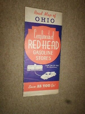 """1940 """"Red Head"""" Gasoline Stores """"Highway Road Map Ohio"""" Dealer Street Guide"""