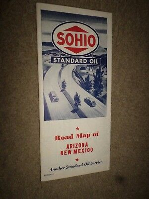 """1947 Standard Oil Co. Sohio """"Highway Road Map Arizona & New Mexico"""" Street Guide"""