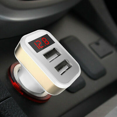 Car Charger 5V 2.1A Dual USB Port LCD Display Cigarette Lighter Phone Adapter