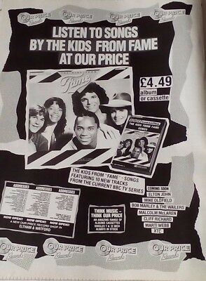 Original 1980's Uk Magazine Advert.  The Kids From Fame - Our Price Records.