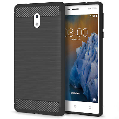 Soft Slim Silicone TPU Gel Carbon Fibre Pattern Phone Case Cover for the Nokia 3