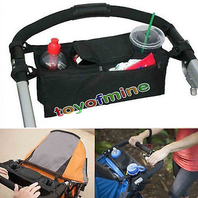 Baby Stroller Cup Holder Safe Console Tray Pram Hanging Black Bag Bottle Holder