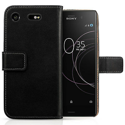 Sony Xperia XZ1 Compact Case Real Genuine Leather Folio Flip Wallet Phone Cover
