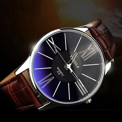 Fashion Men's Leather Stainless Steel Military Sport Casual Quartz Wrist Watches