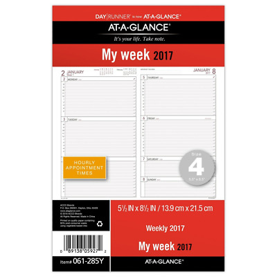 Day Runner Desk Calendar Planner Refill 2017 Size4 My Week w/ Hourly Appointment