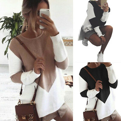 Womens Ladies Long Sleeve Patchwork Tops Winter Knitted Sweater Jumper Oversized