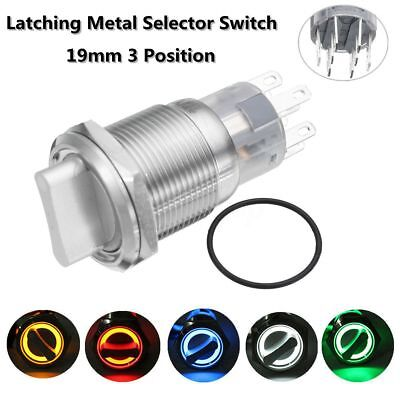 19mm 3Position 12V Waterproof Stainless On/Off/On Latching Metal Selector Switch