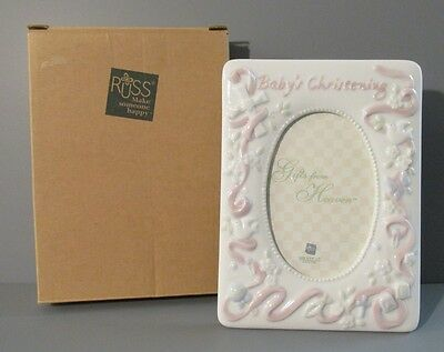 """Russ Berrie """"Baby's Christening"""" Gifts from Heaven Pink Easel Style Photo Frame"""