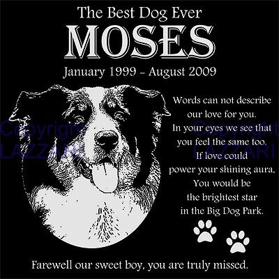 Personalized Australian Shepherd Aussie Pet Memorial 12x12 Granite Grave Marker
