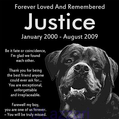 "Personalized Rottweiler Dog Pet Memorial 12""x12"" Engraved Granite Grave Marker"