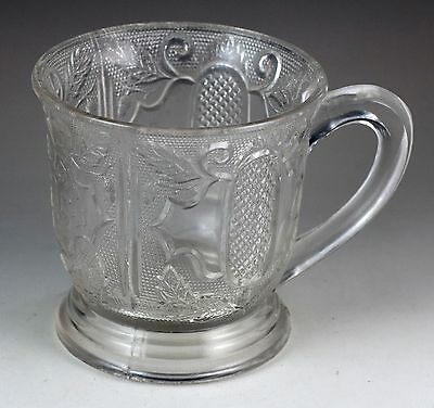 Vintage Antique Remember Me Clear Pressed Glass Footed Cup Mug Circa 1880