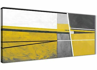 Mustard Yellow Grey Painting Living Room Canvas Art - Abstract 1388 - 120cm