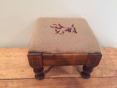VINTAGE HAND STITCHED NEEDLEPOINT FOOTSTOOL with SCOTTIE DOG