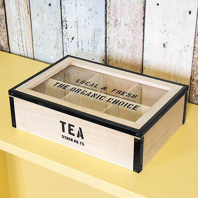 6 Compartment Vintage Wooden Metal Tea Bag Box Caddy Storage Chest Shabby Chic