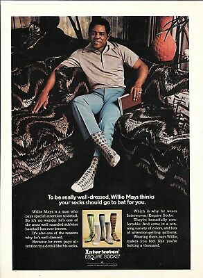 1973 Willie Mays Baseball Player Interwoven Socks Ad