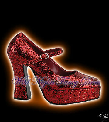 757800ae9d1 WOMEN S 70 S STYLE Platform Shoes Size 7 Red Glitter Fancy Dress (31 ...