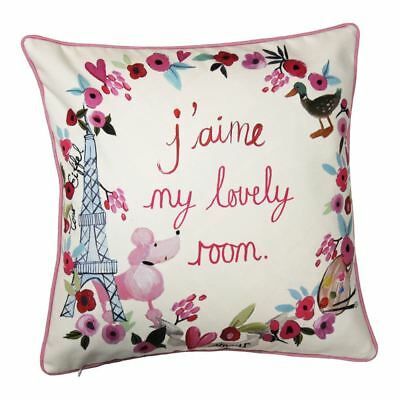 Paris With Love Reversible Cushion Girls Bedroom - Eiffel Tower, Poodle