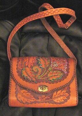 Vintage Hand-Tooled Floral Leather Purse Handmade Added Bling Little Birdy Bags
