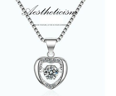 "18"" Dancing Sterling Silver Halo Heart Cubic Zirconia Pendant Necklace Gift Box"