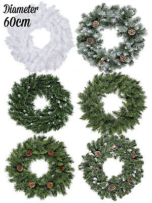 60cm Christmas Wreath Door Decoration Traditional Fir Green Snow Pine Cone White