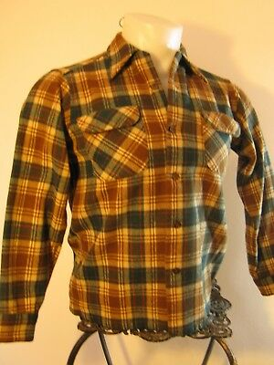 "Boys' Pre-teen Pendleton Green and Brown Plaid Virgin Wool Shirt, 36"" Chest"