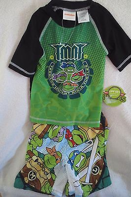 Ninja Turtles Boy  Swimming Short Set UPF 50+ Protection  Size 2T Green New