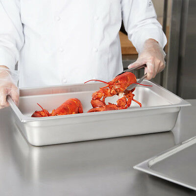 """6 Full Size Standard Weight Anti - Jam Steel Steam Table Pans 4"""""""