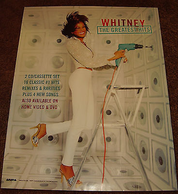 WHITNEY HOUSTON Mint PROMO POSTER for Greatest hits CD 2000 never displayed
