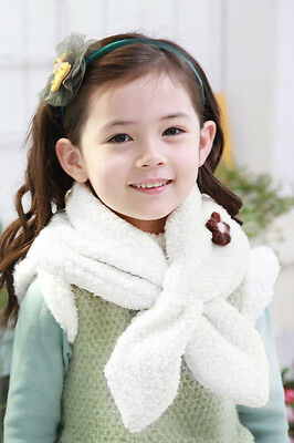 Toddler Girl Wool Scarf Kids Warm Fleece Flower Scarf Simple Wear Neck Scarf