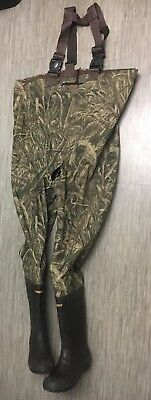 Game Winner camouflage insulated boot chest Wader, size 13 - crotch seam torn