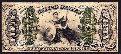 US 50c 3rd Issue Wide Surcharge Fractional Currency FR 1366 VF