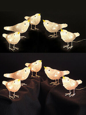 5 Acrylic Light Up Birds 40 LED Warm White Christmas Decoration Outdoor Indoor
