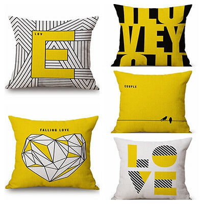 Decorative Pillow Case Mustard Yellow Geometric Fall Autumn Cushion Cover NEW uk