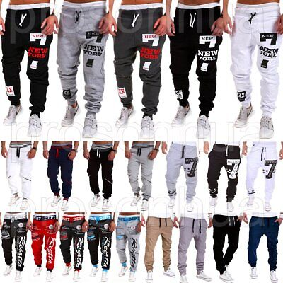 Men Letter Printed Sports Sweat Pants Tracksuit Bottoms Jogger Casual Trousers