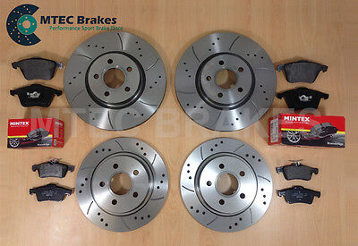 Rover MG ZS 2.5 V6 180 MTEC Drilled Grooved Brake Discs Front Rear & Mintex Pads