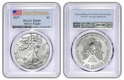 2017 1oz Silver Eagle PCGS MS69 - First Strike Label