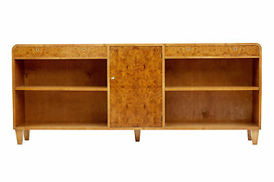 1950's SWEDISH BURR ELM LOW BOOKCASE CABINET